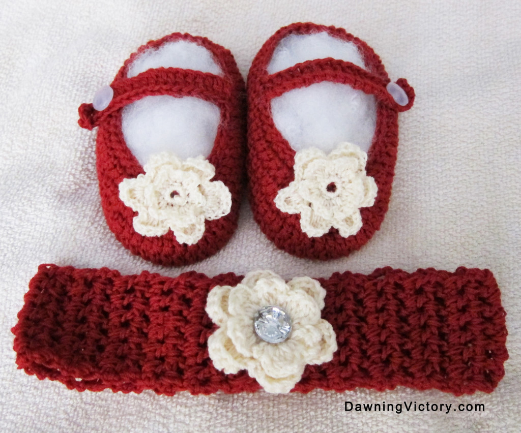 Knitted Baby Booties and Head Band