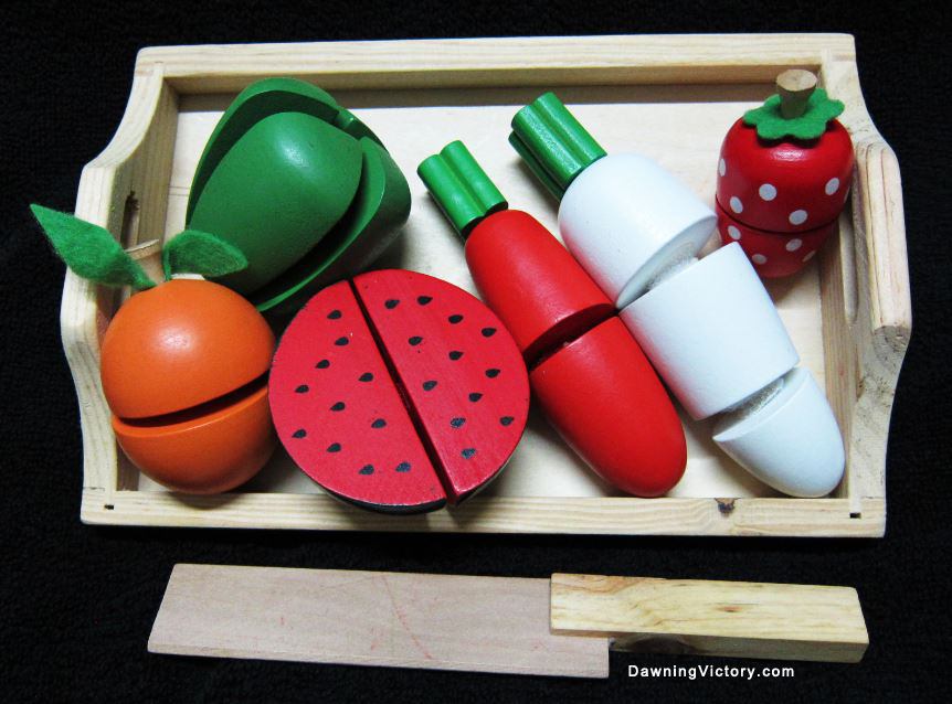 Wooden Cut Fruits & Vegetables with Wooden Tray and Knife