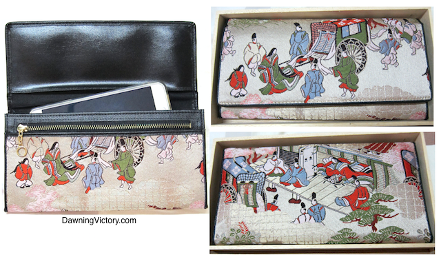 Japanese Garden Embroidered Ladies Wallet Clutch