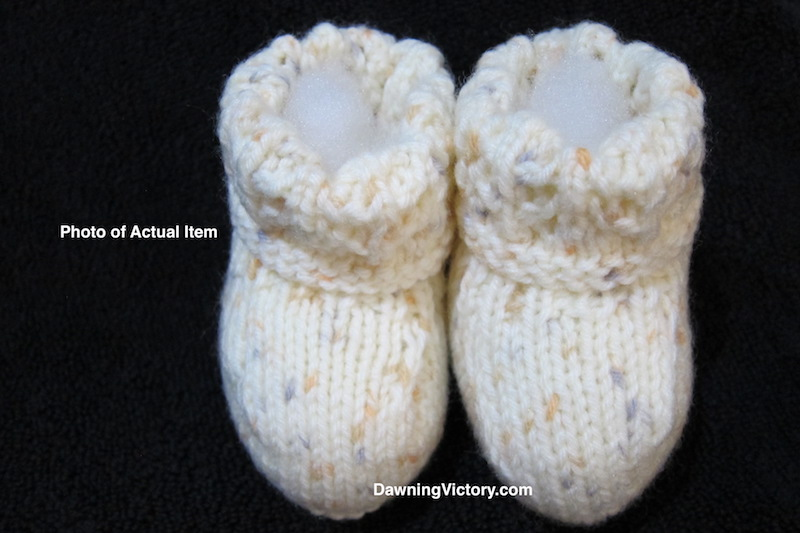 Handmade Knitted Soft Cream Baby Booties
