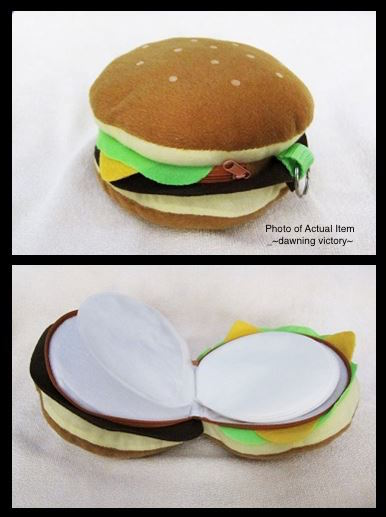 Plush Hamburger Shape CD Storage Case Bag-24-disc